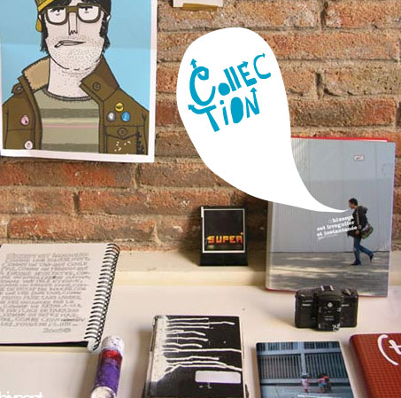 Captura de pantalla del menú de la web, con una metáfora de un escritorio con libretas, una cámara de fotos, y un poster colgado en la pared
