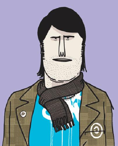 Ilustración de un chico con una bufanda